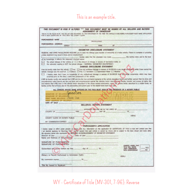 This is an Example of Wyoming Certificate of Title (MV-301, 7-96) Reverse View | Kids Car Donations