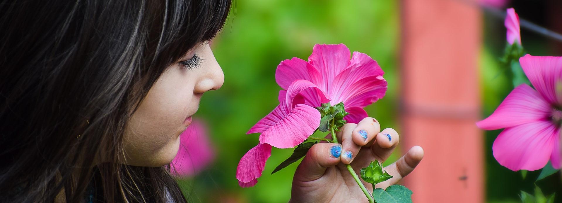 Little Girl in Wyoming enjoying Flowers | Kids Car Donations