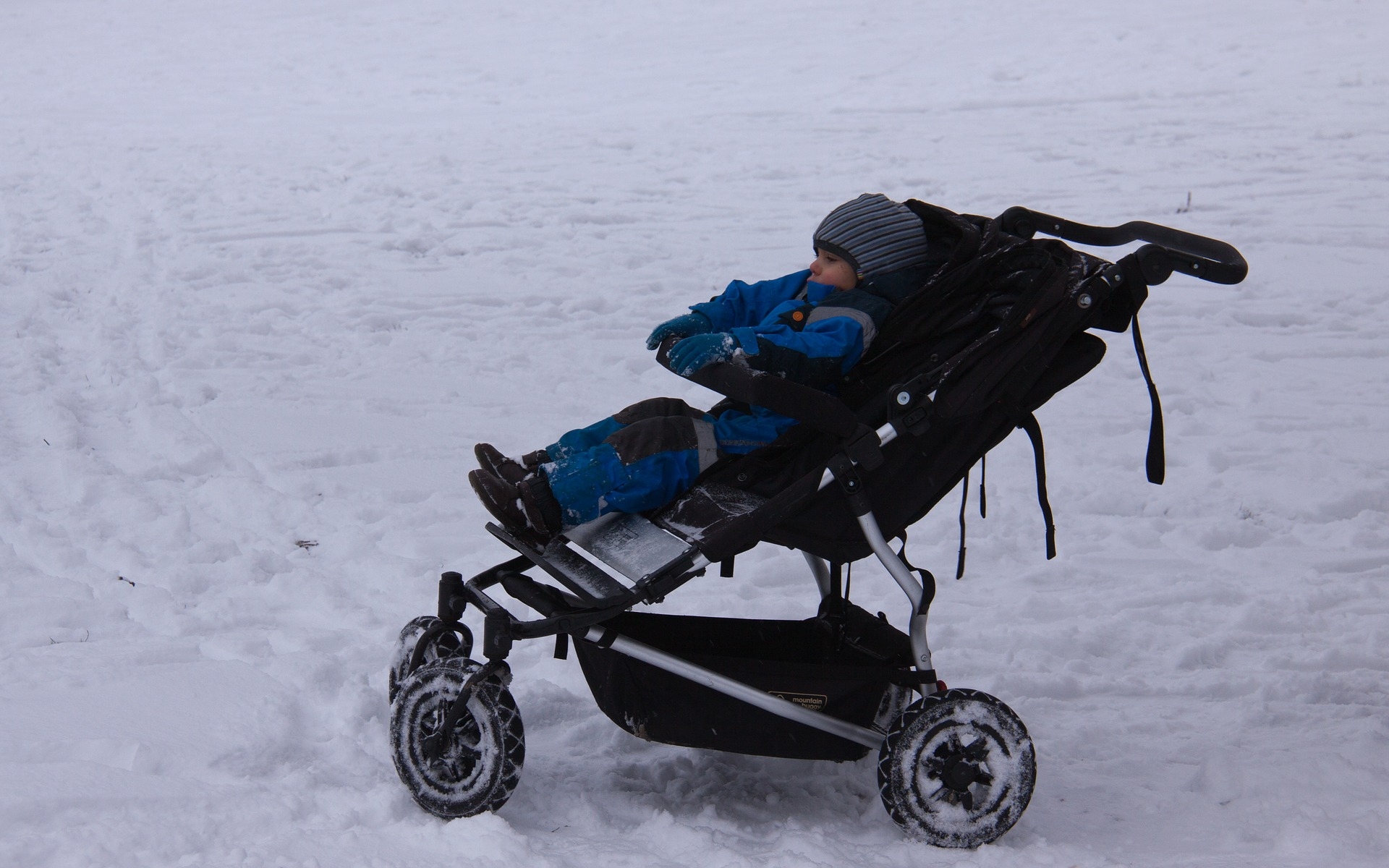 Baby in a Stroller at the Snow   Kids Car Donations