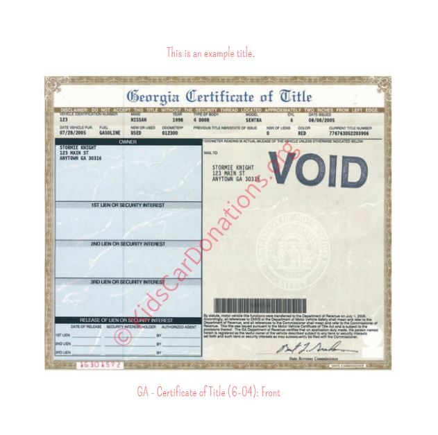 This is an Example of Georgia Certificate of Title (6-04) Front View | Kids Car Donations