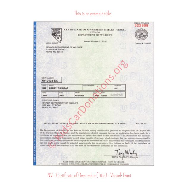 This is an Example of Nevada Certificate of Ownership (Title) for Vessel - Front | Kids Car Donations