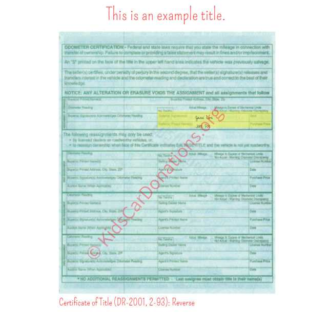 This is an Example of Colorado Certificate of Title (DR-2001, 2-93) Reverse View | Kids Car Donations